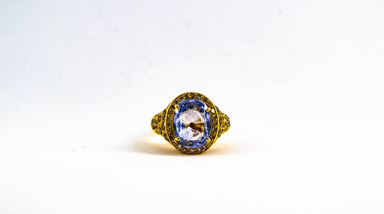 5.46 Carat Blue Sapphire 2.80 Carat Brown Diamond Yellow Gold Cocktail Ring For Sale 1