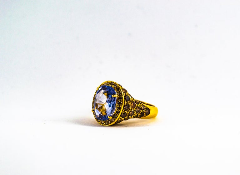 5.46 Carat Blue Sapphire 2.80 Carat Brown Diamond Yellow Gold Cocktail Ring For Sale 2
