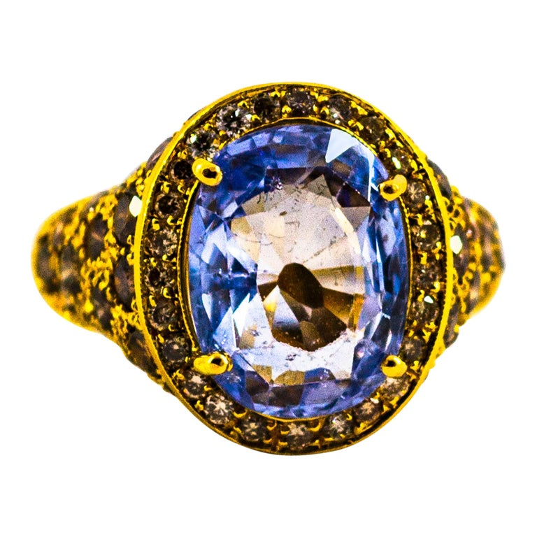 5.46 Carat Blue Sapphire 2.80 Carat Brown Diamond Yellow Gold Cocktail Ring For Sale