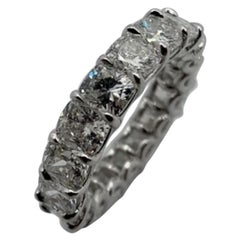 5.46 Carat Cushion Cut Eternity Band Ring