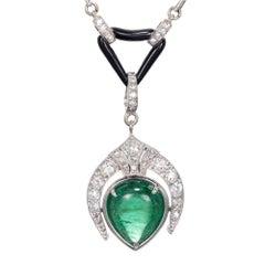 5.46 Carat Pear Emerald Diamond Pearl Onyx Pendant Necklace