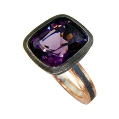 5.46 Carat Purple Spinel Ring Set in Combination of 18k Gold & 925 Silver
