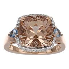 5.46 Carat Total Morganite and Aquamarine Ring with Diamonds in 14 Karat Gold