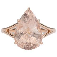 5.46ct Pear Shape Galaxy Morganite 14k Rose Gold Engagement Ring AD2220-2