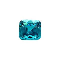 5.47 Carat Blue Zircon Square, Unset 3-Stone Ring, Pendant Enhancer Gemstone