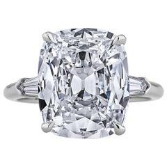5.47 Carat Cushion Brilliant Diamond Platinum Engagement Ring