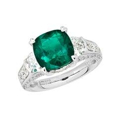 5.47 Carat Cushion Cut Colombian Emerald and Diamond Ring in 18 Karat Gold