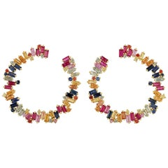 5.47 Carat Multi Sapphire 18 Karat Gold Hoop Earrings