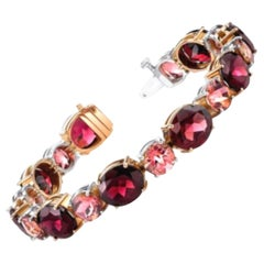 54.72 ct. t.w. Rose Garnet, Pink Tourmaline 18k White, Rose Gold Tennis Bracelet