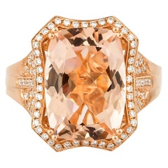 5.48 Carat Cushion Shaped Morganite Ring in 18 Karat Rose Gold with Diamonds