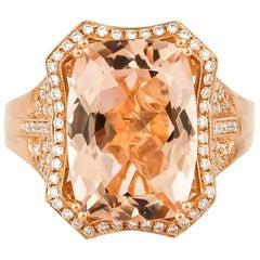 5.48 Carat Cushion Shaped Morganite Ring in 18 Karat Rose Gold with Diamonds