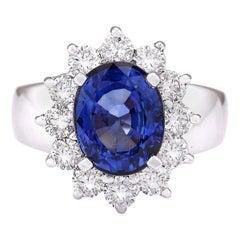 5.48 Carat Sapphire 18 Karat White Gold Diamond Ring