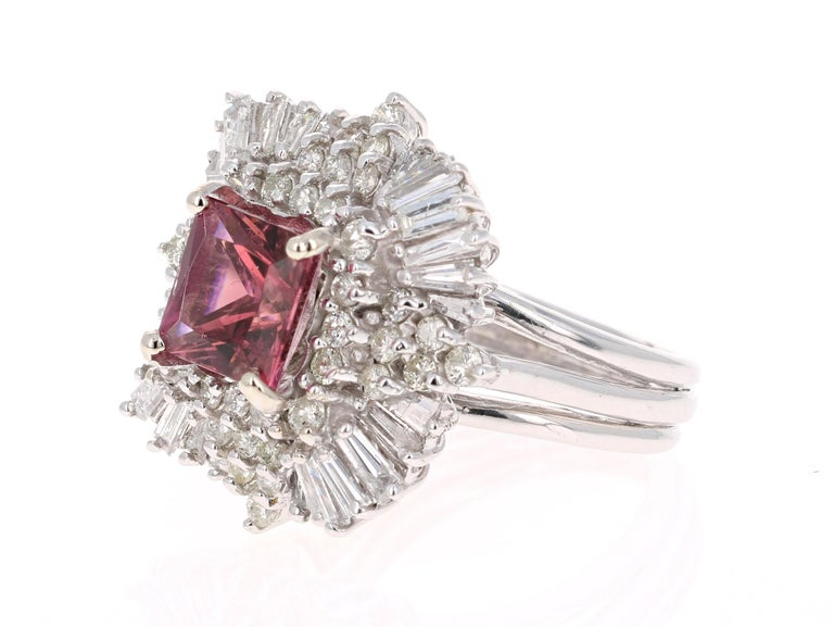 Victorian 5.48 Carat Tourmaline Diamond 14 Karat White Gold Ballerina Ring For Sale