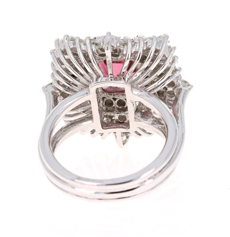 Baguette Cut 5.48 Carat Tourmaline Diamond 14 Karat White Gold Ballerina Ring For Sale
