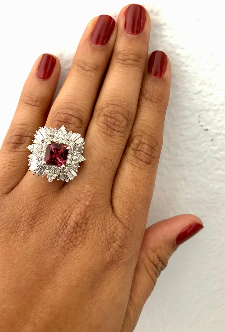 5.48 Carat Tourmaline Diamond 14 Karat White Gold Ballerina Ring In New Condition For Sale In San Dimas, CA