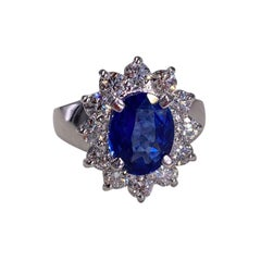 5.48 Ctw Natural Ceylon Sapphire and Diamond Ring in 18k White Gold