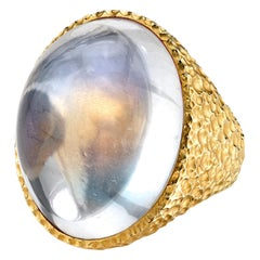 54.86 Carat Oval Moonstone Cabochon 18 Karat Yellow Gold Dome Ring