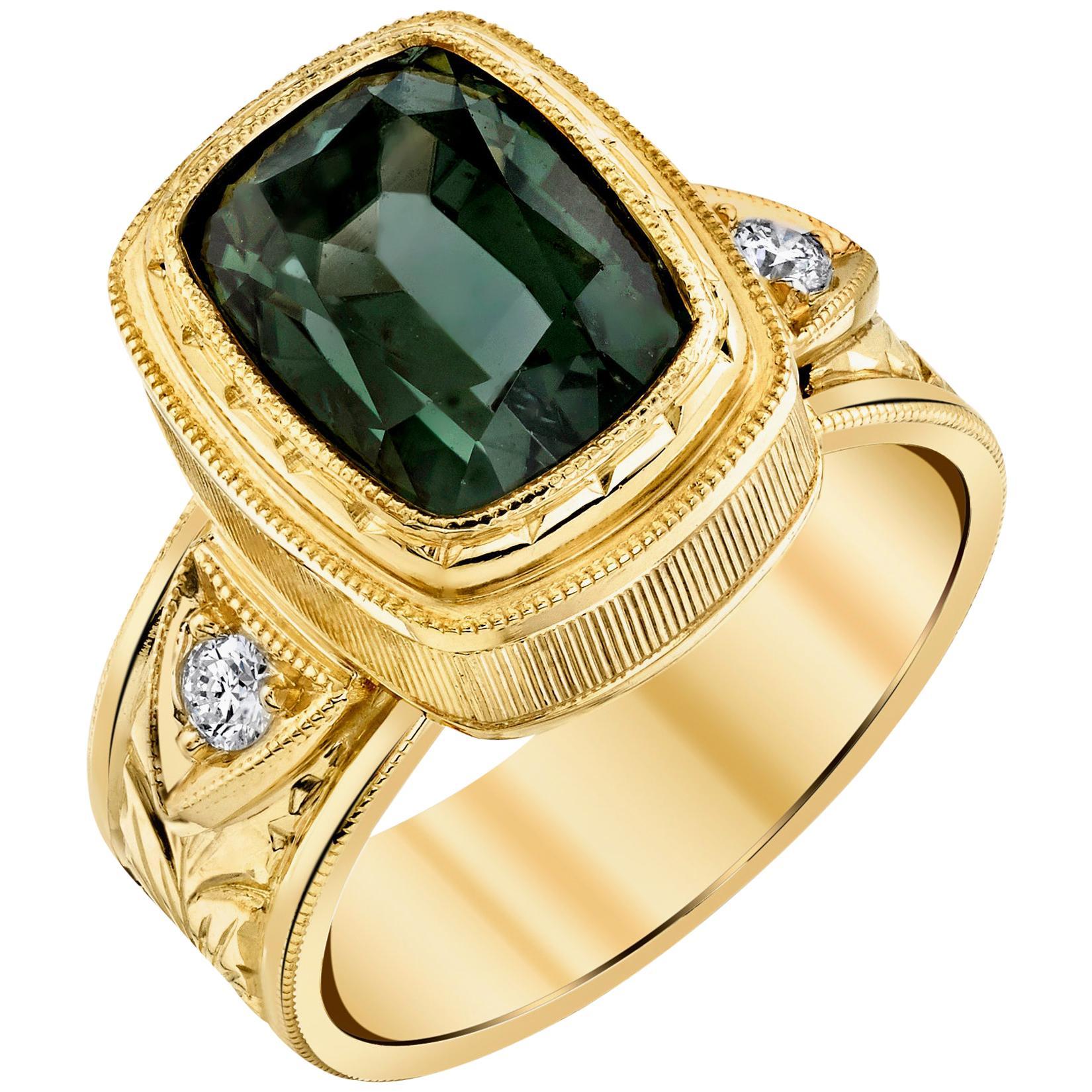 5.49 ct. Green Tourmaline, Diamond, Yellow Gold Bezel Engraved Band Ring
