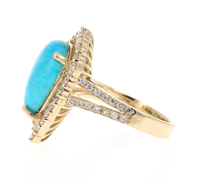 Late Victorian 5.49 Carat Turquoise Diamond 14 Karat Yellow Gold Cocktail Ring For Sale