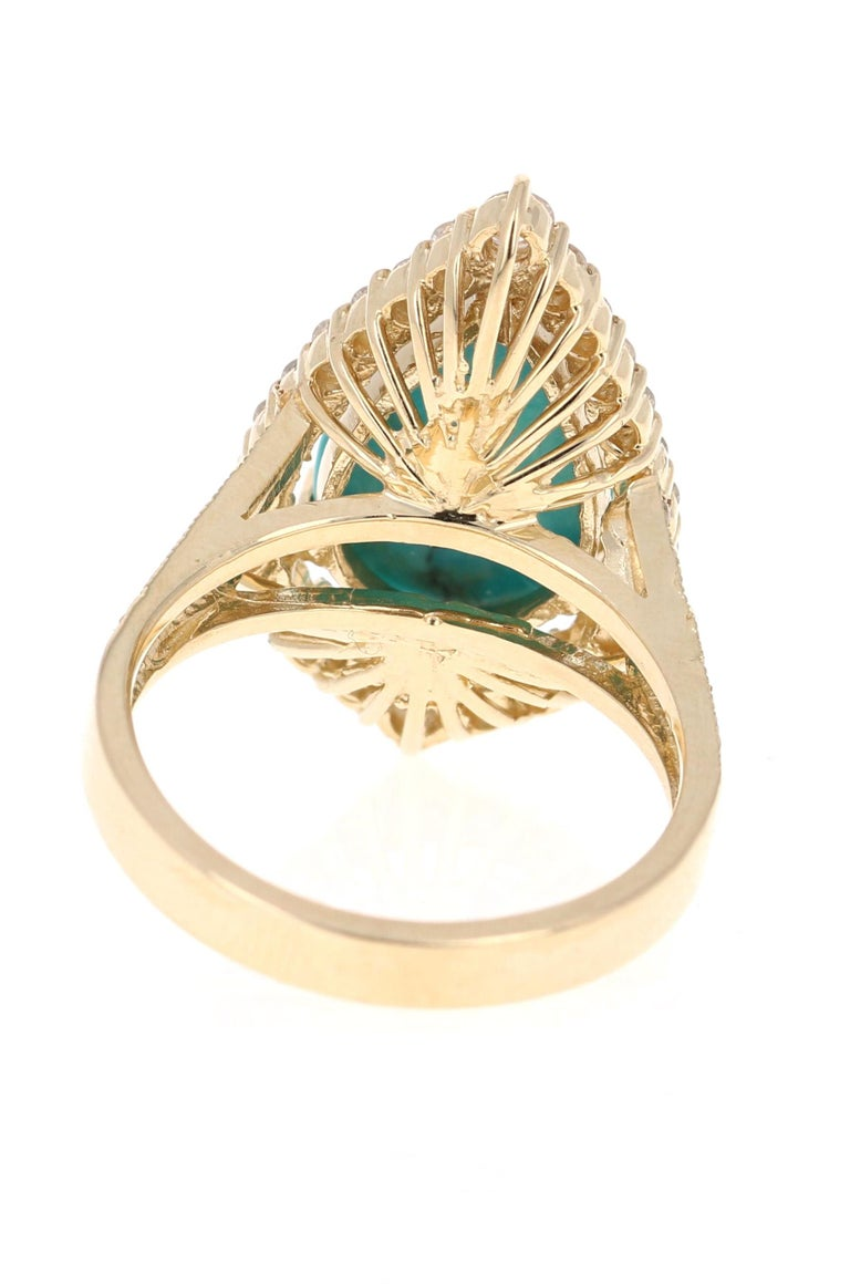 Pear Cut 5.49 Carat Turquoise Diamond 14 Karat Yellow Gold Cocktail Ring For Sale