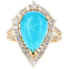 5.49 Carat Turquoise Diamond 14 Karat Yellow Gold Cocktail Ring