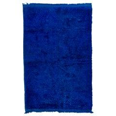 "5.4x8.4 Ft Vintage Handmade Anatolian ""Tulu"" Wool Rug in Bright Indigo Blue"
