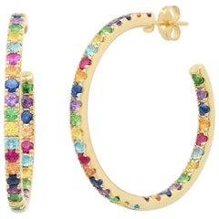 5.5 Approximate Carat Colored Rainbow Gemstone Round Hoop Ear Rings, Ben Dannie