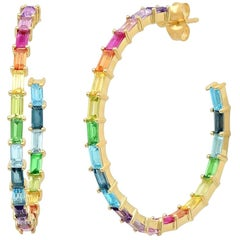 5.5 Apprx Carat Colored Rainbow Gemstone Baguette Hoop Ear Rings, Ben Dannie