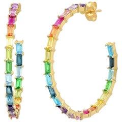 5.5 Apprx Carat Colored Rainbow Gemstone Baguette Hoop Ear Rings, Ben Dannie