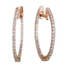 .55 Carat 14 Karat Rose Gold Full Diamond Pave Inside Out Hoop Earrings