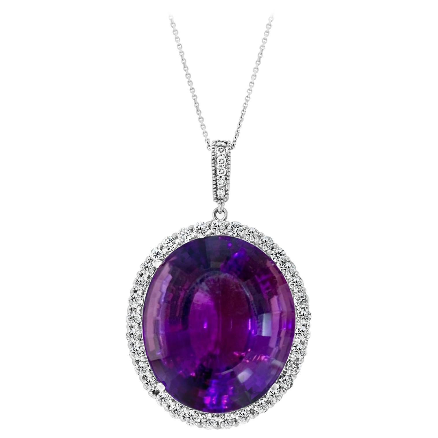 55 Carat Amethyst & 2 Carat Diamond Pendant Necklace 14 Karat White Gold + Chain