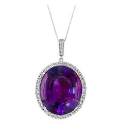 55 Carat Amethyst & 2 Carat Diamond Pendant Necklace 14 Karat White Gold + Chain