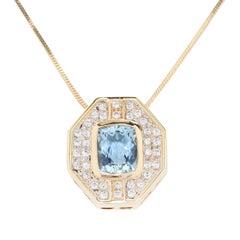 5.5 Carat Aquamarine & Diamond Gold Pendant Necklace