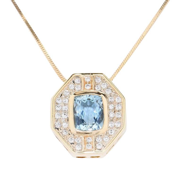 5.5 Carat Aquamarine & Diamond Gold Pendant Necklace For Sale