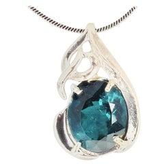 5.5 Carat Bluegreen Glittering Tourmaline Sterling Silver Pendant