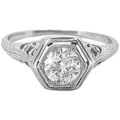 .55 Carat Diamond Edwardian Diamond Antique Engagement Ring Platinum