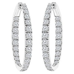 5.5 Carat Diamond Inside Out Hoop Gala Cocktail Earrings in 18 Karat White Gold