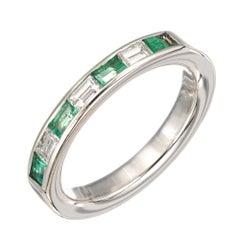 .55 Carat Emerald Diamond White Gold Wedding Band Ring