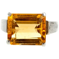 5.5 Carat Glittering Goldy Yellow Citrine Sterling Silver Ring