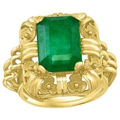 5.5 Carat Natural Emerald Cut Emerald Ring 18 Karat Yellow Gold