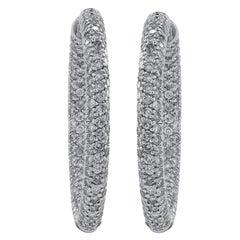 5.5 Carat Pave Diamond in or Out Hoop Earrings