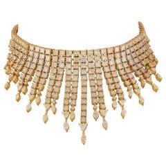 55 Carat Yellow Diamond Necklace in 18 Karat Yellow Gold