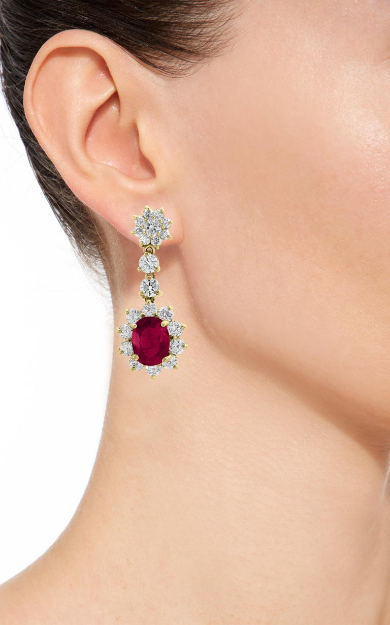 Women's 5.5 Carat Ruby and 5 Carat Diamond Hanging or Chandelier Earrings 18 Karat Gold For Sale