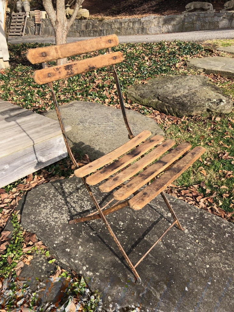 20th Century 55 Folding French Bistro Chairs in Oak and Wrought Iron For Sale
