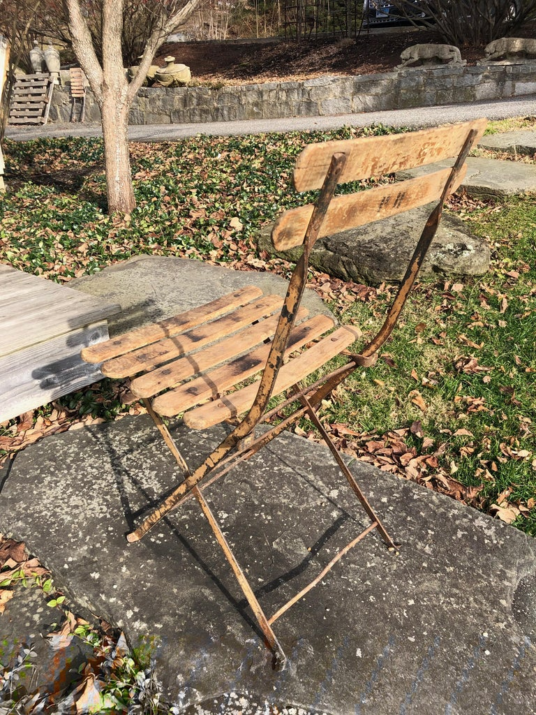 55 Folding French Bistro Chairs in Oak and Wrought Iron For Sale 1
