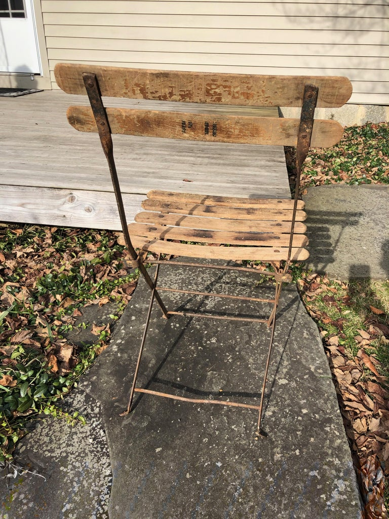 55 Folding French Bistro Chairs in Oak and Wrought Iron For Sale 2