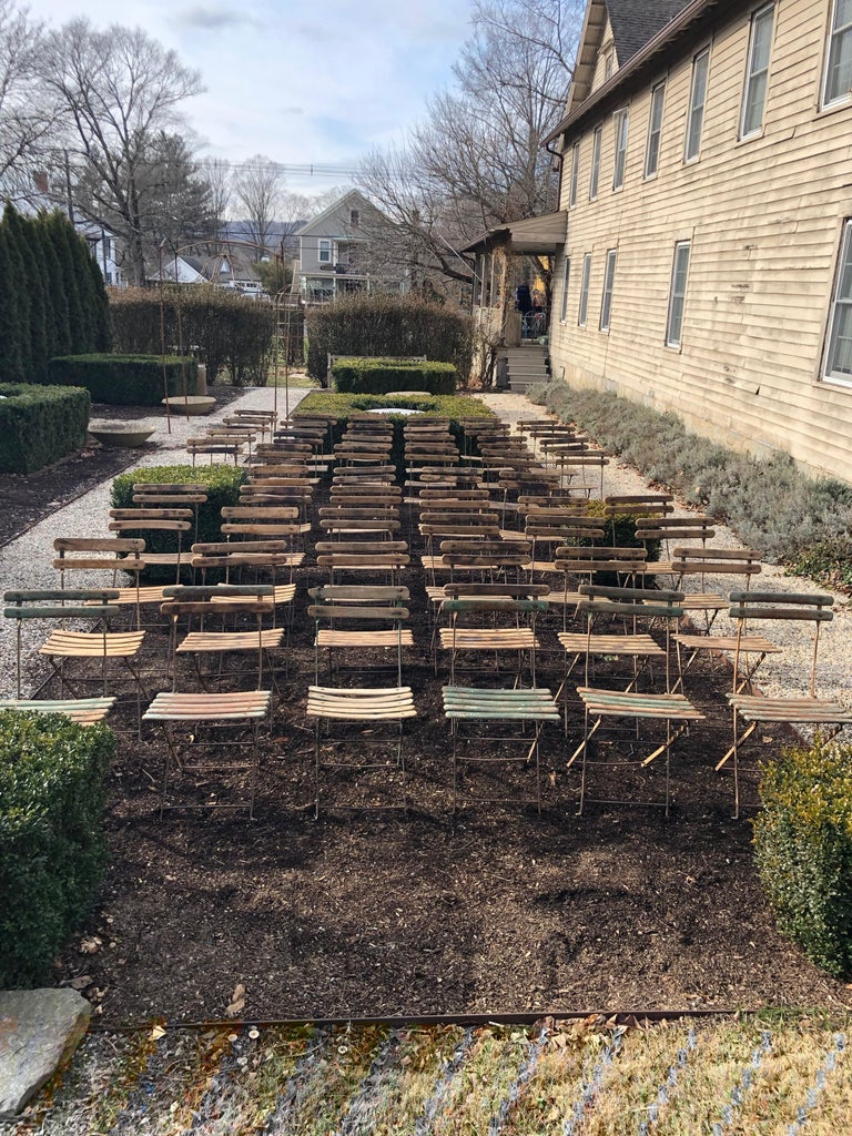 We were hesitant to buy so many bistro chairs at once, but then thought that we could sell them off in lots of whatever our clients want, but the minimum lot size is four. Of course, if you are planning an outdoor wedding, the entire lot would be