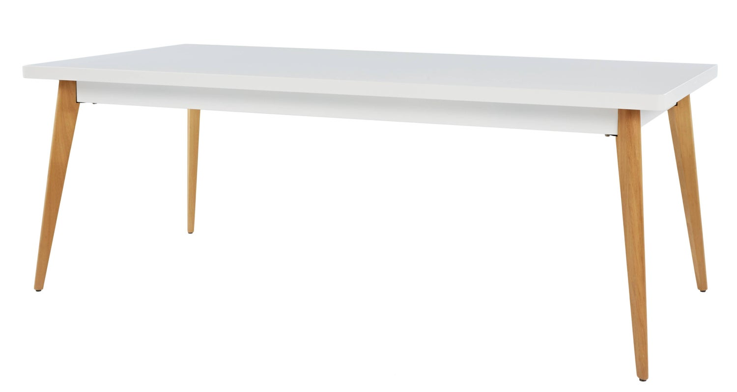 55 Large Dining Table In White With Wood Legs By Jean Pauchard Tolix