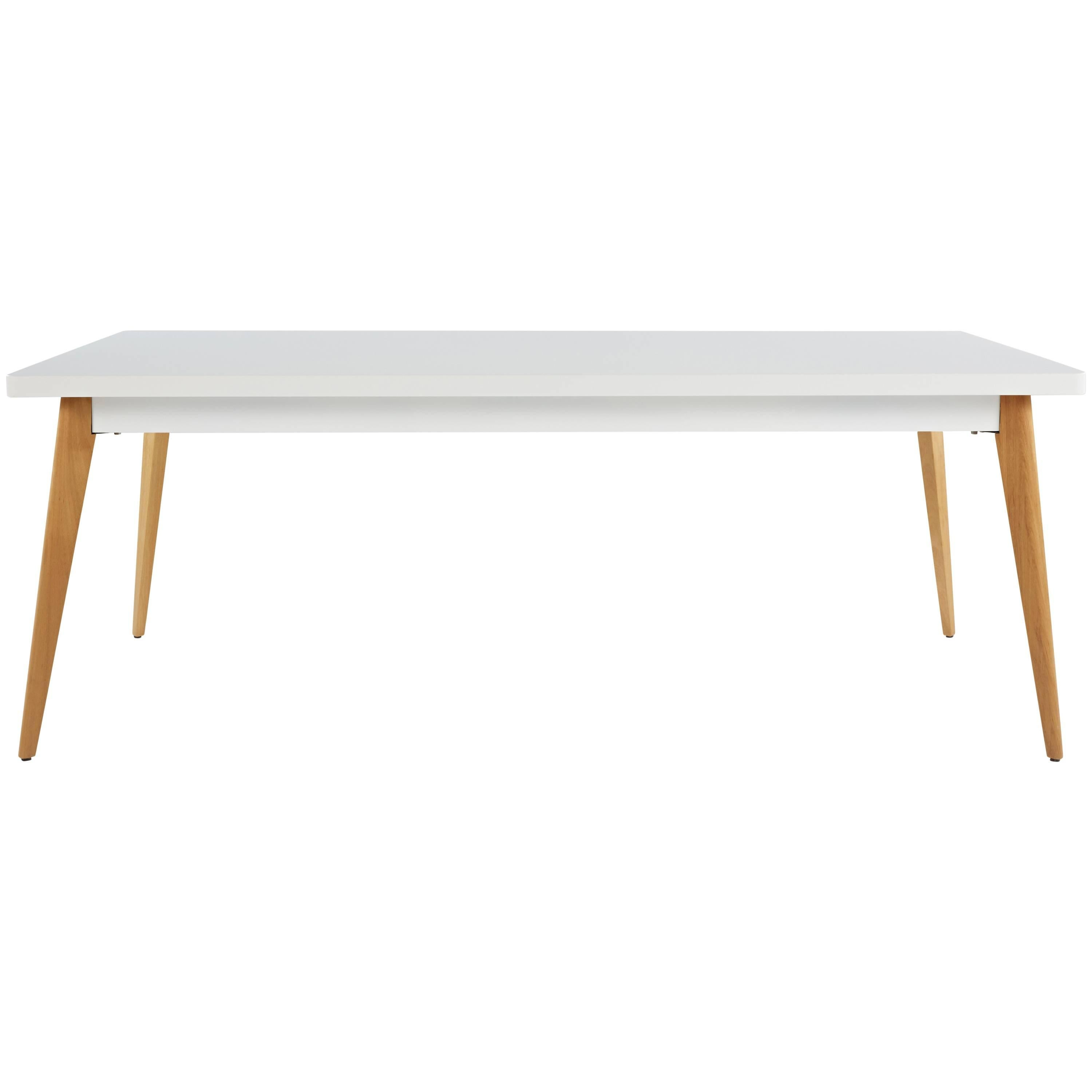 55 large dining table in white with wood legs by jean pauchard and rh 1stdibs com