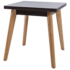 55 Square Side Table in Black with Wood Legs by Jean Pauchard & Tolix